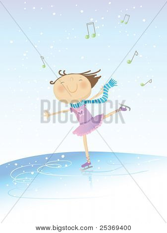 vector illustration of a little happy girl skating on music on winter background