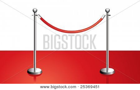portable velvet rope barrier on red carpet, vector illustration isolated on white