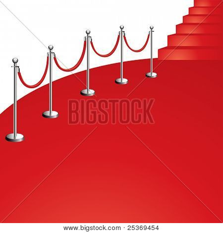 portable velvet rope on red carpet vector illustration, isolated on white