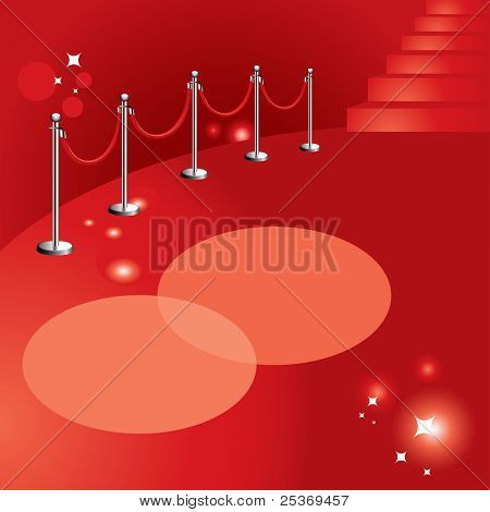 red carpet vector background illustration, portable velvet rope, stairs and lights