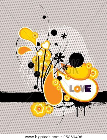 grunge vector retro flower design with love word, isolated on striped background