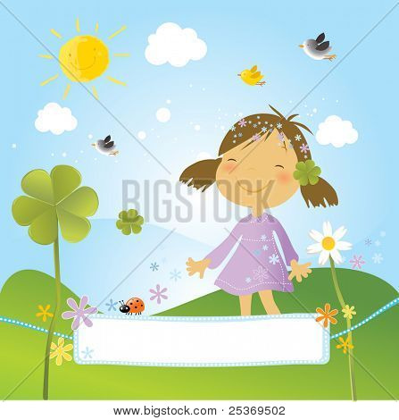 happy girl in the park with clovers, flowers and birds in a spring day. Nice banner for your text.