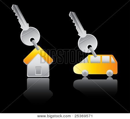house and car key trinket, vector illustration with reflections isolated on black background