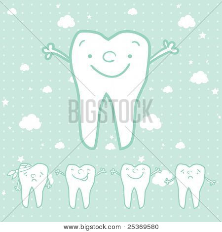 happy teeth and sad teeth cartoon vector, dental health for children