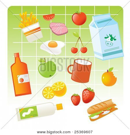 food items vector illustration