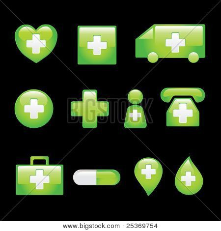 green vector medical icon set, isolated