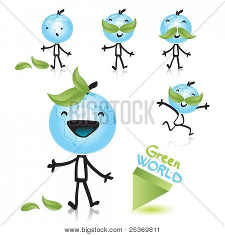planet earth as a happy child, related with green world concept. Vector cartoon character series