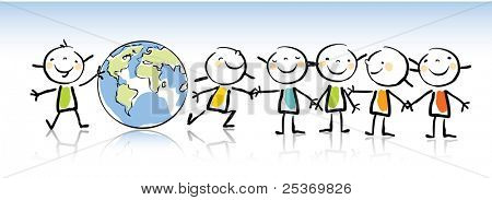 happy kids holding the globe vector illustration, kids drawing style. green world concept related