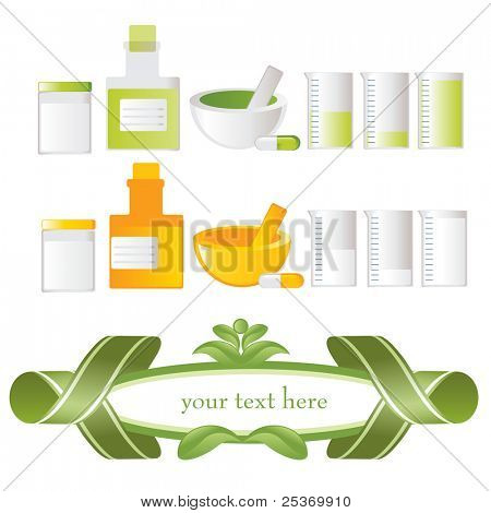 green vector labels, related with alternative medicines health and wellness on natural way