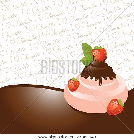 Chocolate dipped strawberry on ice-cream,  vector illustration series. See other fruits in my portfolio
