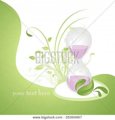 anti aging concept hourglass vector illustration, related with alternative medicines health and wellness on natural way