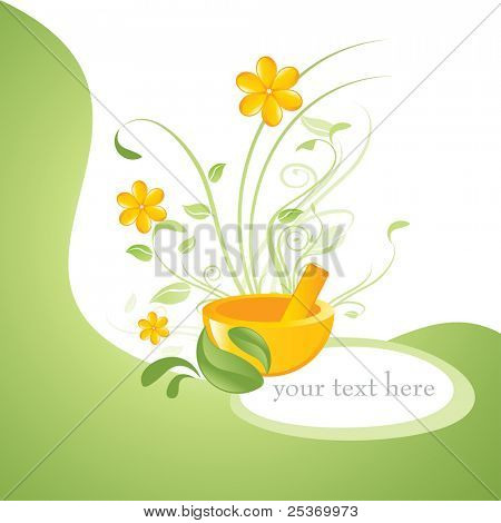 alternative medicines vector floral background, health and wellness on natural way