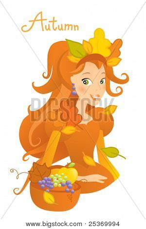 autumn season cartoon character