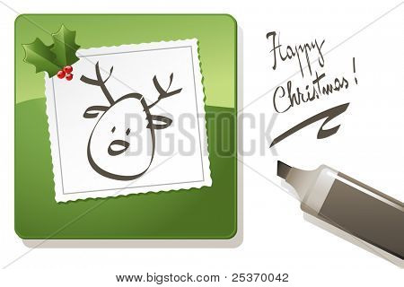 vector christmas card, black highlighter pen drawing reindeer on paper