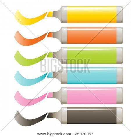markers vector set isolated on white, education theme elements