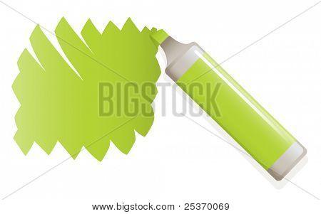vector green highlighter pen drawing on paper