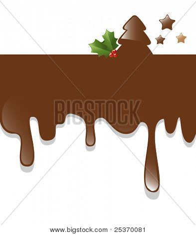christmas tree card with chocolate dripping down on a white background