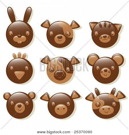 chocolate animals set isolated on a white background