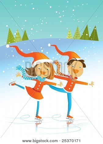 two kids wearing santa costumes, skating, vector winter illustration