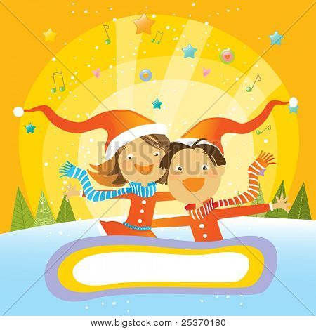 happy children on a beautiful winter background, christmas vector greeting card, place for your text
