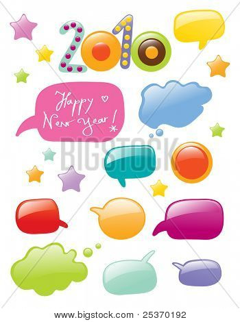 new year 2010 colorful labels in shape of chat or dialog bubbles, vector isolated