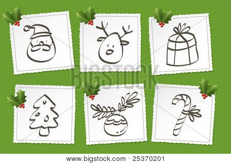 christmas icon set, vector simple drawings and holly ornaments