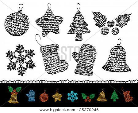 christmas icon set, vector simple drawings, knitted ornaments
