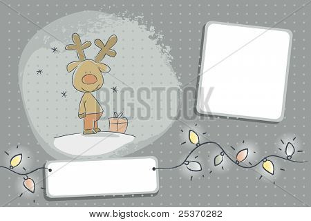 santa's reindeer christmas card, vector cartoon illustration, free labels for your text