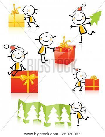 desenhos de crianças de Natal personagem animado, bonito menina agrupados e em camadas para edição fácil.