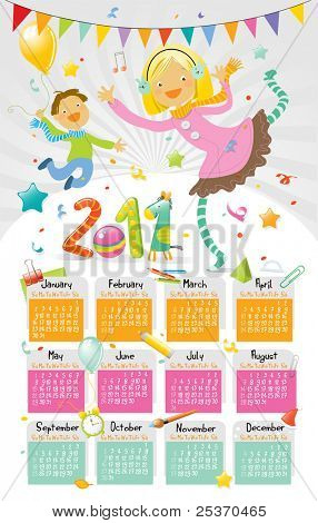 2011 party wall calendar for kids