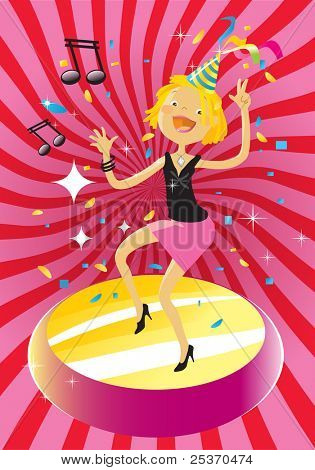 party woman, funny blond dancing on groovy background