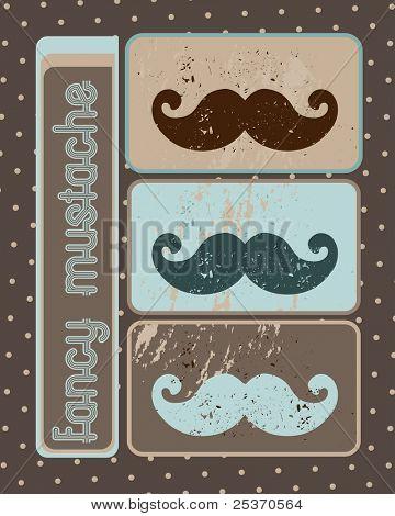 fancy mustache on retro background