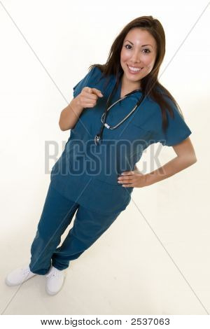 Happy Nurse Pointing