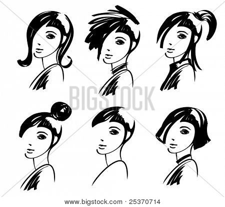 young woman hairstyle hand drawing fashion design