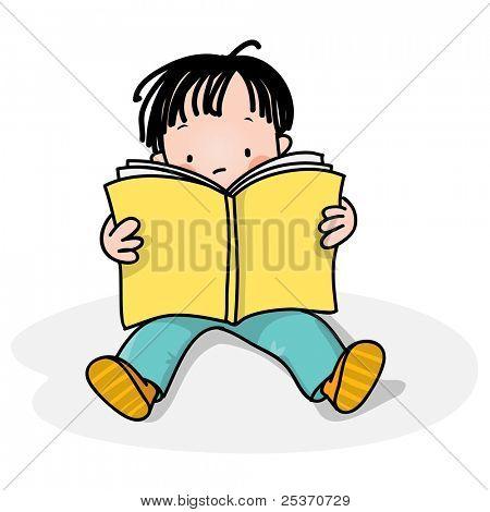 school boy reading a book, also got similar with a girl
