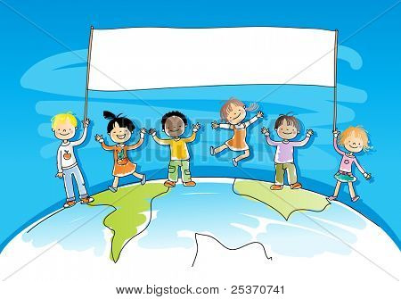 multiracial/ multicultural happy kids on top of the world, holding a banner for your message, watercolor style, grouped and layered for easy editing