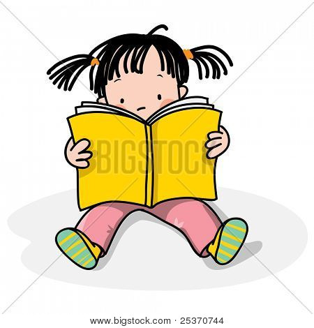 girl reading a book, isolated on white,  see also similar with a boy