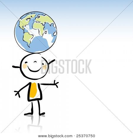 happy kid holding the globe on his head, peace on earth concept related in children's drawing style series. see more images related