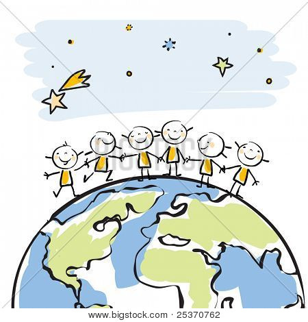 little people together on top of the globe vector illustration, sticky children's drawing style series, grouped and layered for easy editing