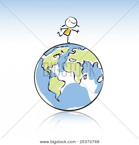 happy kid on top of the globe, peace on earth concept in children's drawing style series. see more images related sticky figure