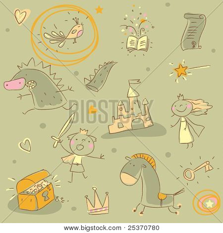kids drawing seamless pattern, children's fairy tales theme