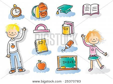 back to school kids with school icon set, watercolor style colored, grouped and layered for easy editing