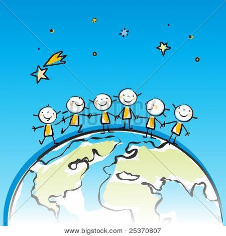happy kids on top of the globe vector illustration, sticky little people in children's drawing style series, grouped and layered for easy editing