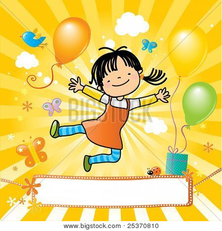 happy kid jumping, party invitation with nice banner for your message.