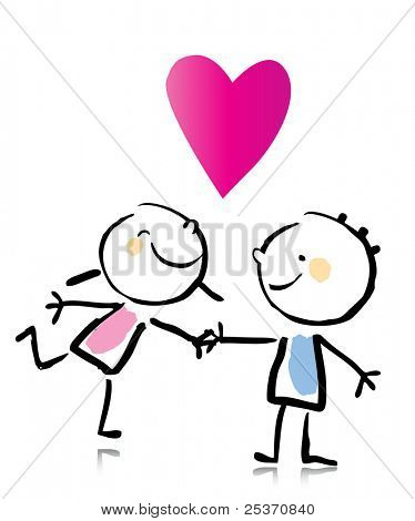 Valentine's Day cartoon romantic people in love holding hands, children's drawing style series. see more images related