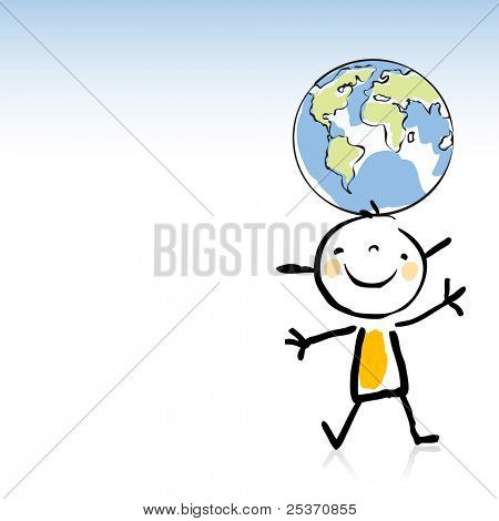 happy kid holding the globe on his head, peace on earth concept, children's drawing style series.