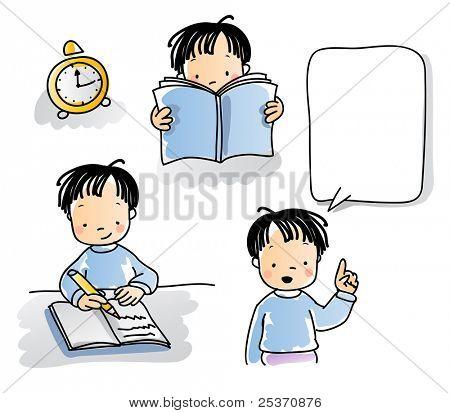 serie de los niños de la escuela, cartoon little boy lectura, escritura, hablar, estilo acuarela. agrupados y laye
