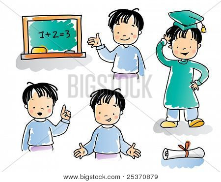school kids series, cartoon boy with graduation hat and diploma, watercolor style. see images related, grouped and layered for easy editing