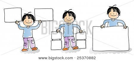 school kids holding blank sign,cartoon boy watercolor style series. grouped and layered for easy editing