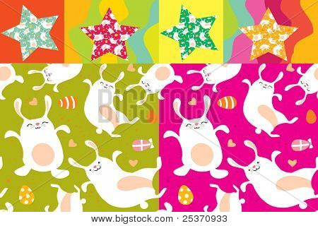 Easter bunny seamless pattern vector background